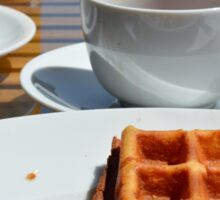 Breakfast with waffle, tea and orange juice.  Sticker