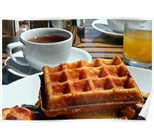 Breakfast with waffle, tea and orange juice.  Poster