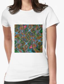 Colorful psychedelic background made of interweaving curved shapes. Illustration Womens Fitted T-Shirt