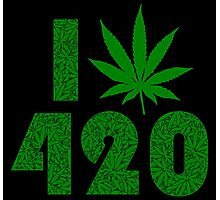 I Weed Leaf 420 with Marijuana Pattern Photographic Print