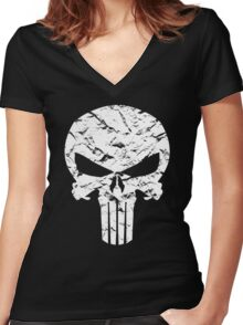 Punisher Logo Women's Fitted V-Neck T-Shirt