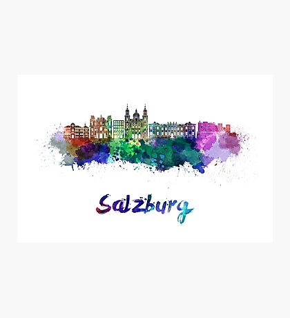 Salzburg skyline in watercolor Photographic Print