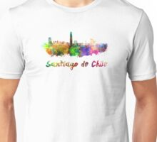 Santiago de Chile skyline in watercolor Unisex T-Shirt