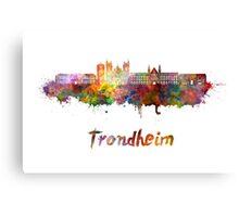 Trondheim skyline in watercolor Canvas Print