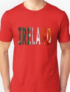 Ireland Word With Flag Texture T-Shirt