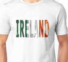 Ireland Word With Flag Texture Unisex T-Shirt