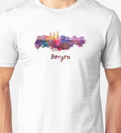 Bergen skyline in watercolor Unisex T-Shirt