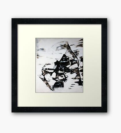 Female Eyes, Original mixed media painting, Huge monochrome Abstract Face of Woman Framed Print