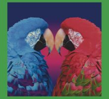 Macaw Love Birds: Red & Blue Macaws in Heart-Shaped Cuddle Kids Tee