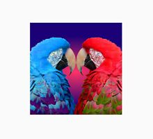 Macaw Love Birds: Red & Blue Macaws in Heart-Shaped Cuddle Unisex T-Shirt