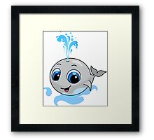 Smiling cute funny baby whale Framed Print