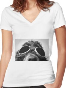 Dog with sunglasses Women's Fitted V-Neck T-Shirt