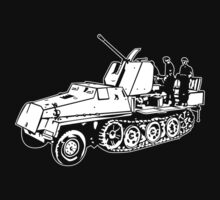 German Halftrack with Flak Gun Kids Tee