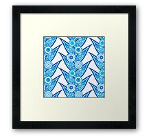 Intricate Blue Leaves and Flowers Pattern Framed Print