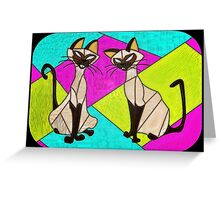 siamese cats  - stained glass villains Greeting Card