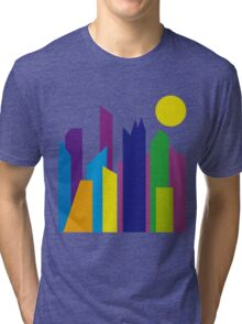 Geometric Flat Abstract Halftone City Trendy Summer Colors Tri-blend T-Shirt