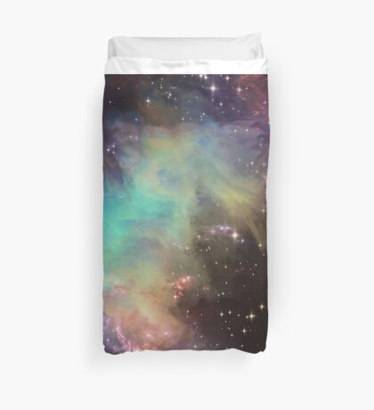 Massive scale galaxy print (1 of 2, green) Duvet Cover