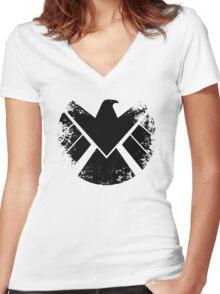 SHIELD Badge - Black Women's Fitted V-Neck T-Shirt