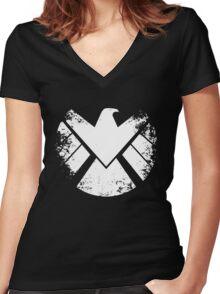SHIELD Badge - White Women's Fitted V-Neck T-Shirt
