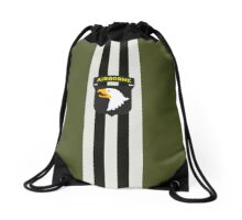 D-Day Stripes with 101st Airborne Patch Drawstring Bag