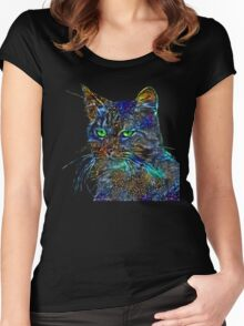 Artificial neural style Starry night wild cat Women's Fitted Scoop T-Shirt