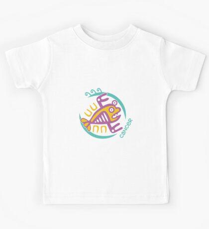 Maya art stylized zodiac sign Cancer Kids Tee