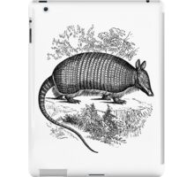 Vintage Armadillo Illustration Retro 1800s Black and White Image iPad Case/Skin