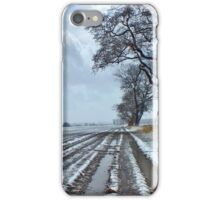 Light Snow covering Winter Farmland iPhone Case/Skin