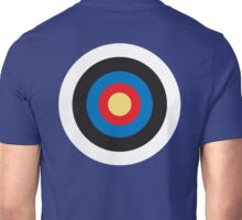 Bulls Eye, Right on Target, Roundel, Archery, on Dark Blue Unisex T-Shirt