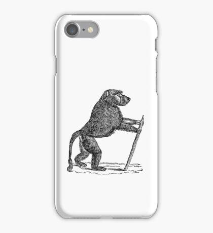 Vintage Mandrill Baboon Monkey Illustration Retro 1800s Black and White Monkeys Animal Image iPhone Case/Skin