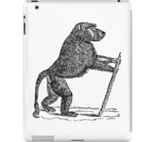 Vintage Mandrill Baboon Monkey Illustration Retro 1800s Black and White Monkeys Animal Image iPad Case/Skin