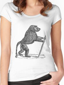 Vintage Mandrill Baboon Monkey Illustration Retro 1800s Black and White Monkeys Animal Image Women's Fitted Scoop T-Shirt