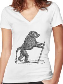 Vintage Mandrill Baboon Monkey Illustration Retro 1800s Black and White Monkeys Animal Image Women's Fitted V-Neck T-Shirt