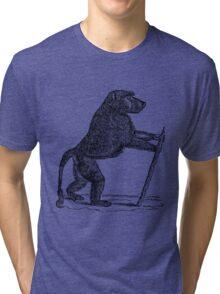 Vintage Mandrill Baboon Monkey Illustration Retro 1800s Black and White Monkeys Animal Image Tri-blend T-Shirt