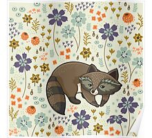 Funny little raccoon Poster