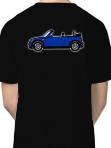 Mini, Cooper, Convertible, BMW, Motor, Car, Soft Top, BLUE, on Black Classic T-Shirt