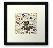 Funny little raccoon love you Framed Print