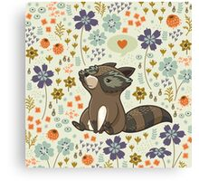 Funny little raccoon love you Canvas Print