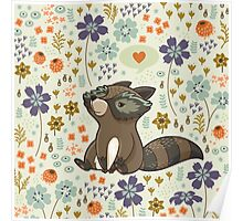 Funny little raccoon love you Poster