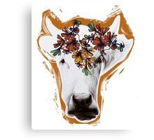 Hand drawn cow lady. Canvas Print