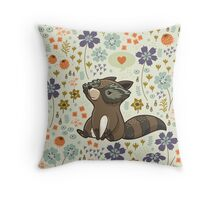Funny little raccoon love you Throw Pillow