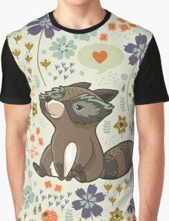 Funny little raccoon love you Graphic T-Shirt
