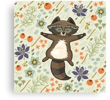 Funny little raccoon on the meadow Canvas Print