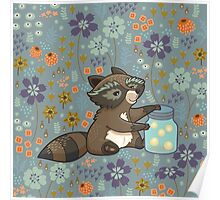 Funny little raccoon collects crickets Poster