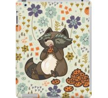 Funny little raccoon eating cookies iPad Case/Skin