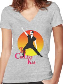 The Cat Like Kid Women's Fitted V-Neck T-Shirt