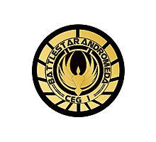 Battlestar Andromeda Golden Logo Photographic Print
