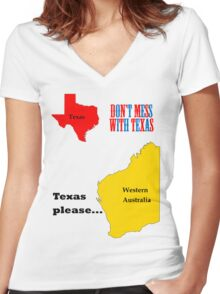 Texas please... dark text Women's Fitted V-Neck T-Shirt