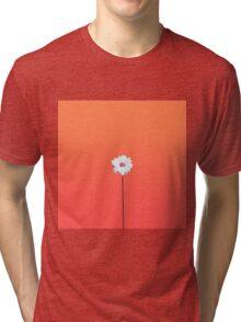Summery Sunset Orange Gradient and White Daisy Tri-blend T-Shirt