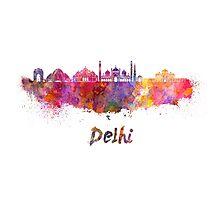 Delhi skyline in watercolor Photographic Print